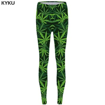 Green Weed Leggings