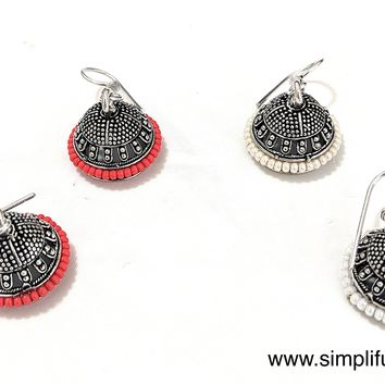 Silver Oxidized casual small hook drop Jhumka Earring with colorful bead surrounding