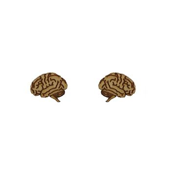 Brain Earrings in Birch Wood