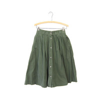 Army Green Button Front Skirt High Waist Midi Skirt Boho Basic Long Skirt Side Pockets NORMCORE Preppy Bohemian Safari Plain Skirt Vintage