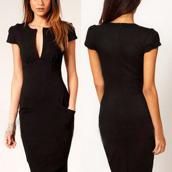 Black Deep V-Neck Short Sleeve Bodycon Midi Pencil Dress