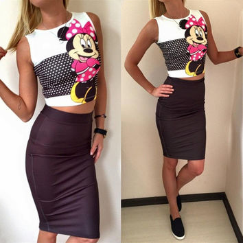 Minnie Mouse and Polka Dot Sleeveless Print Top with Bodycon Skirt