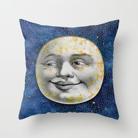 Man in the Moon Throw Pillow by Silva Ware by Walter Silva