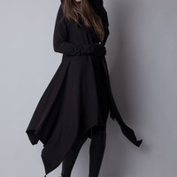 DARKNESS Hooded Cloak Jacket Thumbhole Sleeves Organic Jersey Maxi Cardigan Tall & Plus Sizes Small to 3X