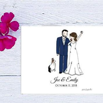 "11"" x 8.5"" Landscape Hard Cover Guest Book - Wedding Couple"