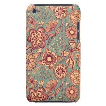 Vintage Abstract Flower Pattern iPod Touch Cover