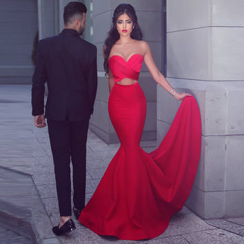 2017 Prom Dresses Sweetheart Pleated Mermaid Prom Dress Sexy Formal Pageant Gowns Fitted Long Evening Party Gowns CG-105