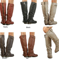 New Women's Breckelle's Outlaw 11 Buckle Knee high Riding Boots Size 5.5-11