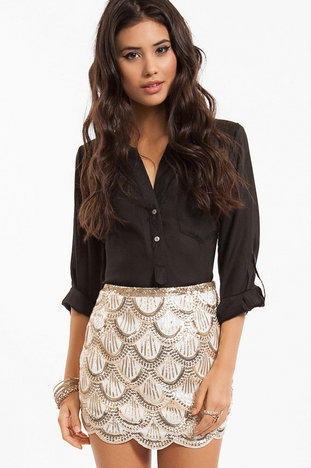 Scallops and Sequins Skirt $50