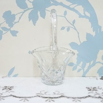 Crystal Glass Posy or Sweet Basket, Criss Cross/Diamond and Fan Pattern, Thumbprint Rim and Handle, Starburst Base, Homewares
