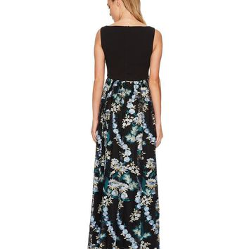 Adrianna Papell - AP1E202671 V-Neck Floral Embroidered Sleeveless Gown