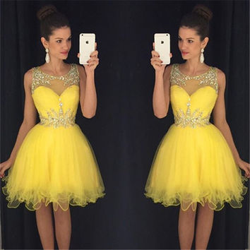 New Sexy Short  Prom Dresses 2016 O-neck Sleeveless Side Front Knee Length  Beads Prom Dress 2017