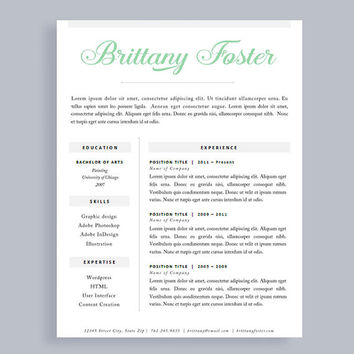 professional resume template made to order header instant download