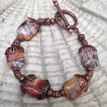 50%OFF SALE Picasso Jasper Bracelet, Gemstone and Copper Bracelet, Boho Earthy bracelet