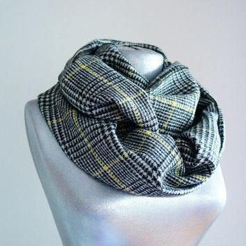 Handmade Plaid Infinity Scarf - Wool - Black White Yellow - Winter Autumn Scarf - Men Unisex Scarf