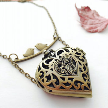 Heart locket bird watch necklace