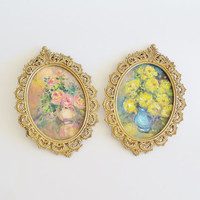 Italian Floral Bouquet Paintings in Brass Frames Wall Decor Set of 2