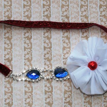 Red White and Blue Rhinestone Headband, July 4th Headband, 4th of July Headband, Elastic Headband, Baby Rhinestone Headband, Photo Prop