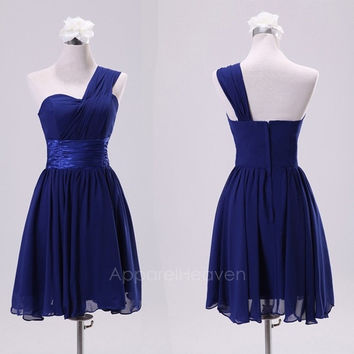 Bridesmaid Shoulder Short Dress Chiffon Bridesmaid Dress Oblique Performances Formal Dress AP = 1931911876