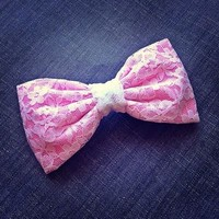 Pink White Lace fabric bow from Bowlicious Divas Bowtique