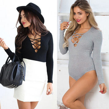 Feitong New  Womens Sexy Deep V Bandage Ribbed Front Plunge Cotton Lace up Leotard Bodysuit Tops Jumpsuit overalls for women