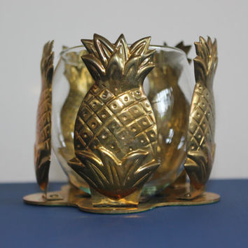 Interpur gold metal pineapple votive candle holder, pineapple decor, brass pineapple, votive holders, candle votives