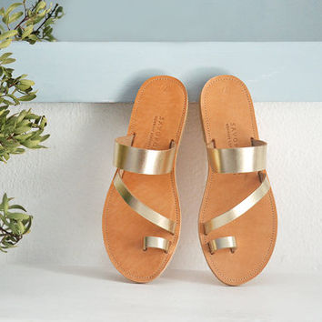 OPHIS , Leather Sandals, Toe ring extra strap sandal, Handmade Greek sandals