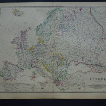 LARGE Vintage Map of Europe 1878 original antique old English poster of European Continent - vintage big maps 49x61c 19x24""