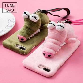 3D Cartoon Stand Bracket Animal Crocodile Plush Hard PC For iPhone 6 6s Plus 7 Plus Half Cover Protect For iPhone 8 Plus Case