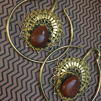 Gold sun goldstone 3 mm extra large hoop earweights ear weights