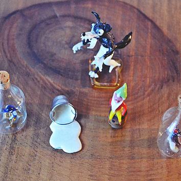Glass And Porcelain Miniatures, Miniature Bottles With Glass Bird, Metal Milk Bucket, Miniature Glass Elf, Miniature Glass Big Bad Wolf