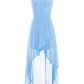 Women's Lace Hi Low Bridesmaid Dress Belt Chiffon Homecoming Gown Dresses
