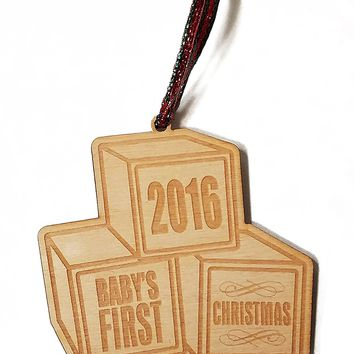 Baby's First Christmas Toy Blocks Laser Engraved Wooden Christmas Tree Ornament Gift Seasonal Decoration