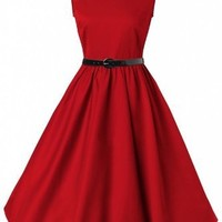 Lindy Bop Classy Vintage Audrey Hepburn Style 1950's Rockabilly Swing Evening Dress (2XL, Red)