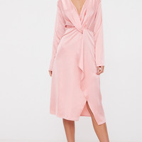 Blush Satin Long Sleeve Wrap Midi Dress