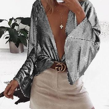 Silver Sparkle Stretch Plunge Flare Sleeve Blouse
