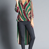 Extreme High-Low Vertical Striped Wrapped Blouse *accessories not included