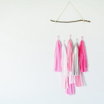 Flamingo Twig Tissue Tassel Mobile, Blush, Pink, Fuschia,  Nursery Decor, Playroom, Girls Room, Wall Decor, Baby Girl, Baby Shower
