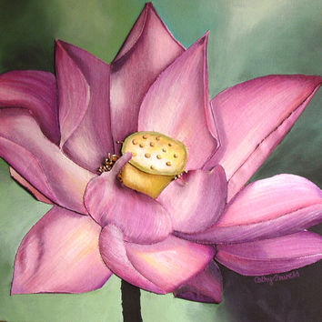 Lotus Flower Painting - 3 Dimensional Pink Bloom Wall Art on Canvas - Made to Order