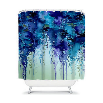 BEAUTY in the RAIN, in NAVY Blue and Indigo Fine Art Painting Shower Curtain Washable Home Decor Beautiful Rain Modern Stylish Dorm Bathroom