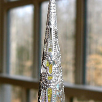 """Clear AB Swarovski Crystal Prism Encased in Silver Plated Filigree Cone  """"LITTLE AVALON""""  Comes in 8 Colors, Car Charm, Suncatcher, Pendulum"""