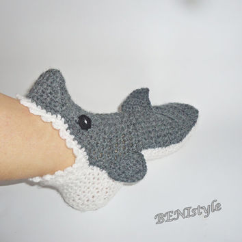 Crochet Shark Socks/Slippers,  Crochet Shark Socks, Adult Shark Socks, Women Shark Socks