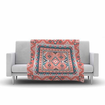 "Nandita Singh ""Dreamy Aztec"" Coral Beige Digital Fleece Throw Blanket"