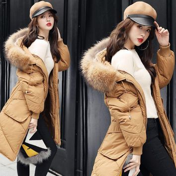 2017 New Pattern Autumn And Winter Korean Heavy Seta Lead Overknee Thickening Self-cultivation Loose Coat Long Fund Down Woman