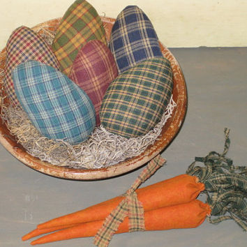 Primitive Homespun Easter Eggs with Bundle of Carrots - Bowl Filler - Fabric - Spring Decor - Easter Centerpiece