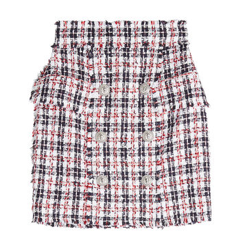 Tweed Skirt with Embossed Buttons - Balmain | WOMEN | KR STYLEBOP.COM
