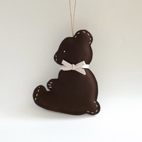 Baby Teddy Bear in Chocolate Brown Wool Felt, Unique Baby Gift, Baby Room, Woodland Nursery Decor, Wall Hanging, Cute Stuffed Animal, Custom
