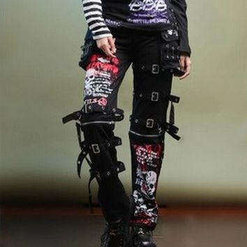 Goth Punk Graffiti Skulls Straight Air-vent Men Pants