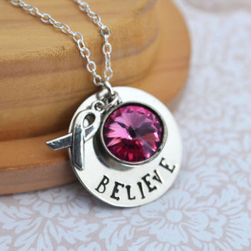 Breast Cancer Awareness Handstamped Necklace - Personalized Jewelry - Ribbon Charm, Breast Cancer, Pink