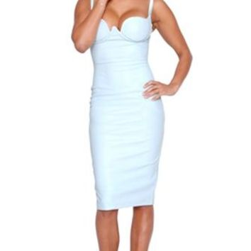 Invitation Only Light Blue PU Faux Leather Sleeveless Spaghetti Strap Bustier Bodycon Midi Dress - Inspired by Kim Kardashian